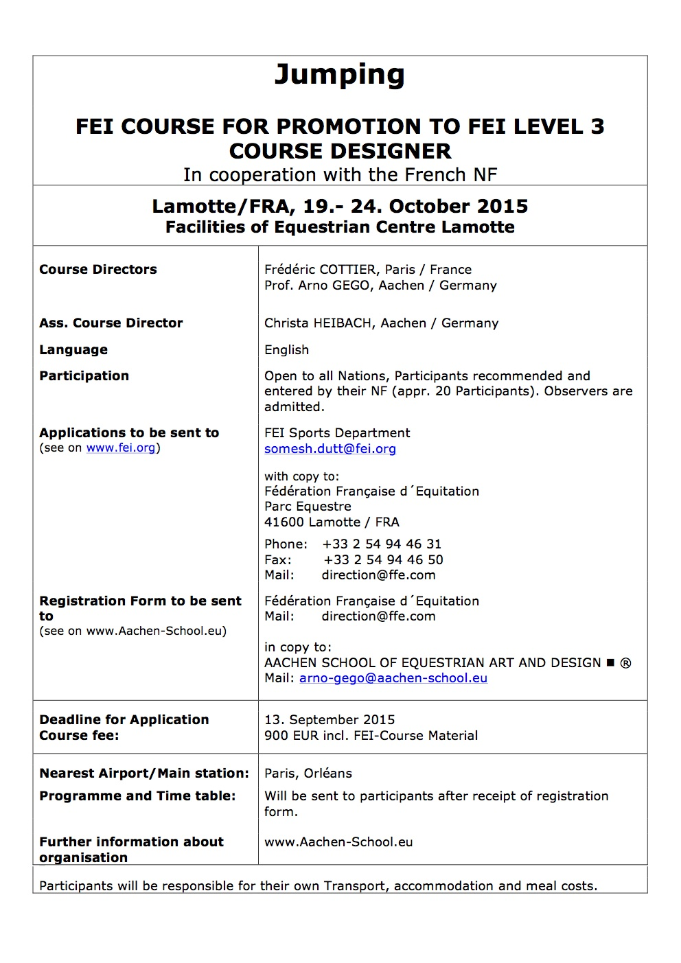 Level 3 Course for Course Design, 19.-24. October 2015 in Lamotte/FRA